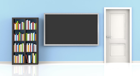 designates: flat screen tv and bookshelf in a blue living room Stock Photo