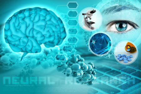 people human mind: human brain and eye in an abstract neurological background Stock Photo