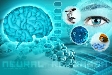 menselijke hersenen en de ogen in een abstracte neurologische achtergrond Stockfoto