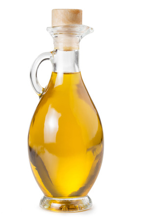carafe of olive oil isolated on white