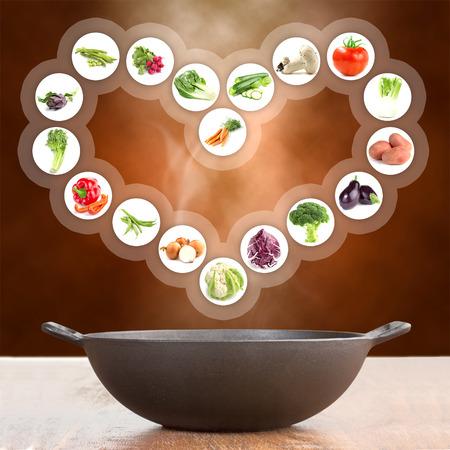 cast iron: vegetables in a heart shape over cast iron pot