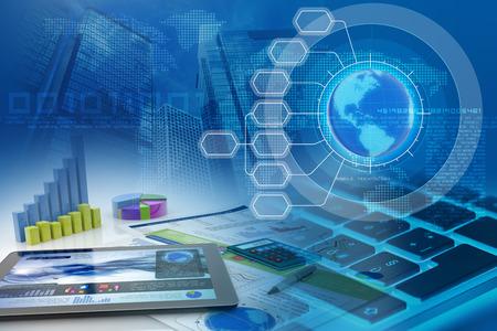 tablettes et graphiques à barres dans un contexte financier abstrait