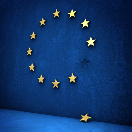 eurozone: exit from the eurozone: golden star fallen from a blue wall Stock Photo