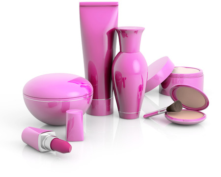 Set van cosmetische producten op wit wordt geïsoleerd Stockfoto - 43279362