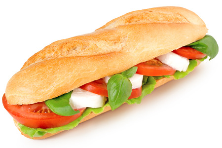 sandwich with caprese salad isolated on white