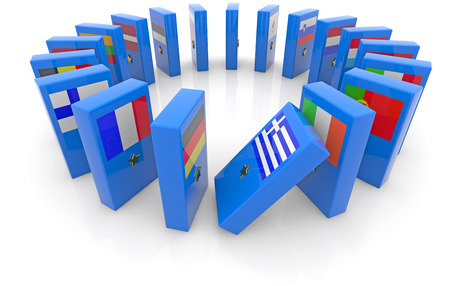 eurozone: dominoes with the flags of the eurozone countries