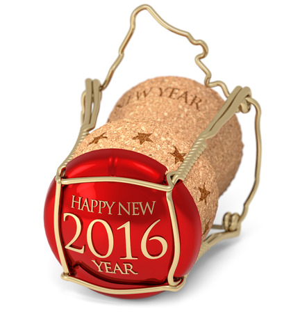 new year's champagne cork isolated on white 写真素材