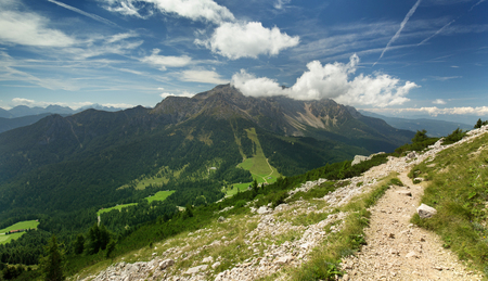 valley view: panoramic view of a mountain trail above a valley