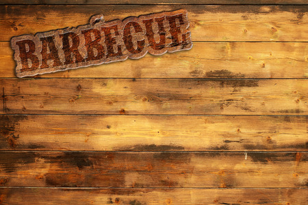 barbecue label nailed to a wooden background Stock Photo