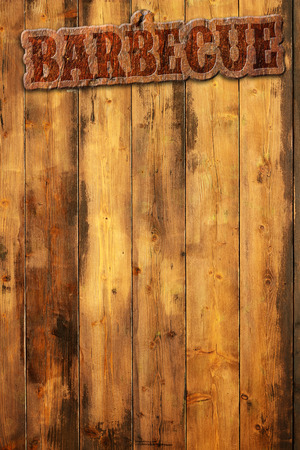 bbq background: barbecue label nailed to a wooden background Stock Photo