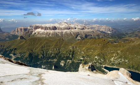 sella: panoramic view from marmolada mountain in south tyrol