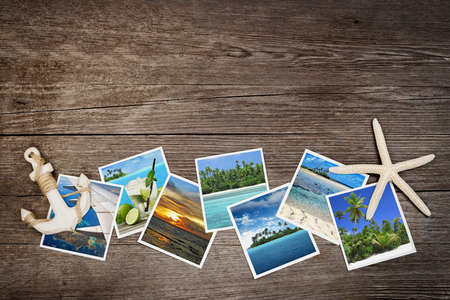 honeymoon: snapshots of tropical islands on wooden background