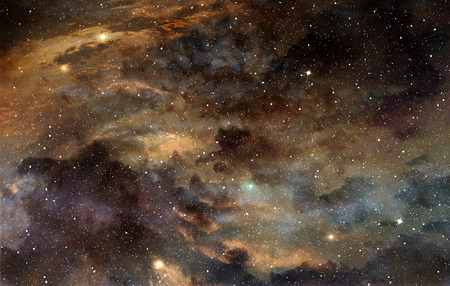 glowing star: star field and cosmic gas in the outer space