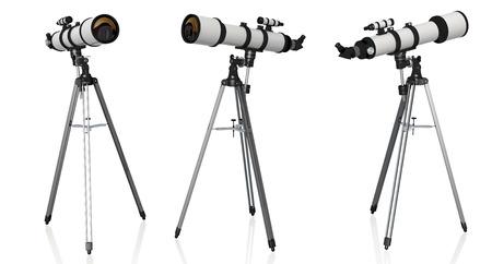 fernrohr: drei Teleskope auf Stativ isoliert auf weißem Hintergrund