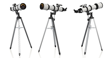 three telescopes on tripod isolated on white background Stock Photo