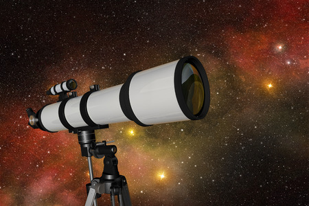 refracting: white telescope in a starry night sky Stock Photo