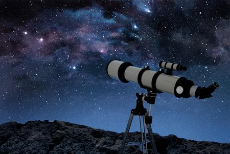 별이 빛나는 밤하늘을 관찰하는 바위 바닥에 망원경