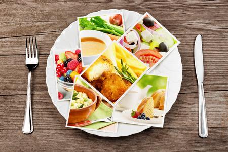 Imágenes de comida en un plato, tenedor y cuchillo Foto de archivo - 47673439
