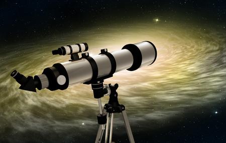 Milchstraße bei sonnenuntergang und teleskop im vordergrund