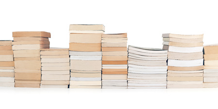 encyclopedia: stacks of books in a row on white background