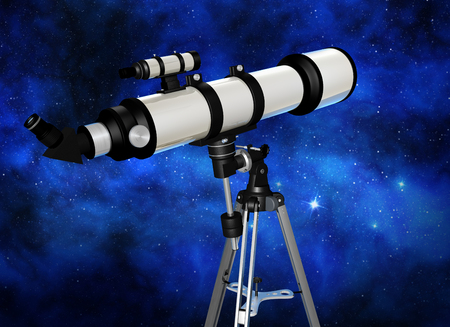refracting: telescope looking at a starry night sky