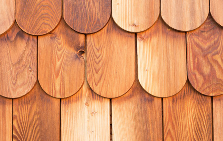 shingles: detail of a wood panel made with larch shingles Stock Photo