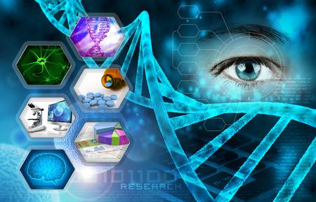 genetica: la scienza medica e la ricerca scientifica astratto