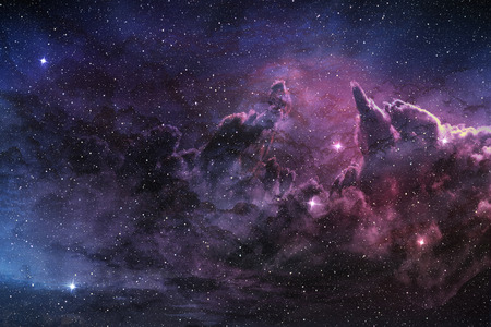 outer space: purple nebula and cosmic dust in star field