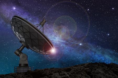 별이 빛나는 밤 하늘 아래 위성 접시