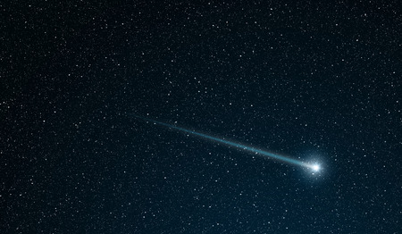sky night star: shooting star going across the star field
