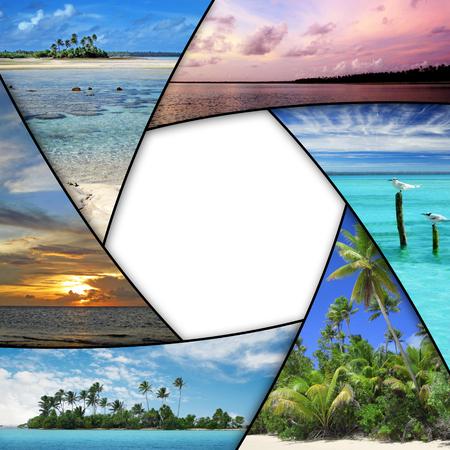 luna de miel: Collage de la foto de los mares tropicales con espacio en blanco