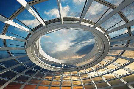 Coucher de soleil sur le toit d'un dôme futuriste Banque d'images - 48763531