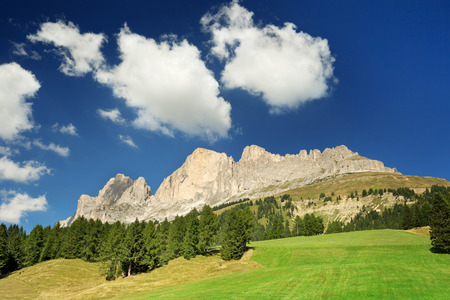 massif: dolomitic massif and green pasture in summer