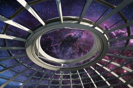 dome: ceiling of round dome under the star field Stock Photo
