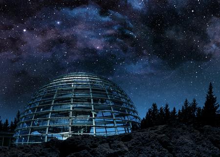 futuristic glass dome under the milky way