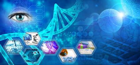 drug discovery: medical and pharmaceutical research abstract blue backdrop Stock Photo