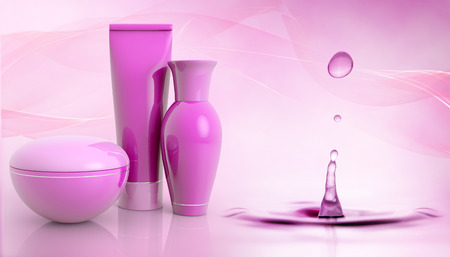 set of cosmetic products and water droplet Zdjęcie Seryjne