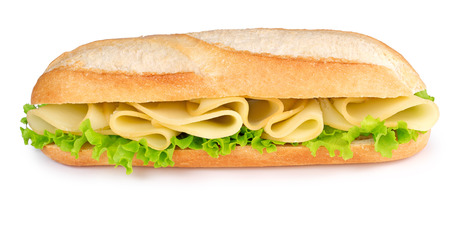 sub: cheese and lettuce sub isolated on white background