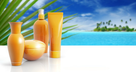 product packaging: set of sun lotions in a tropical background
