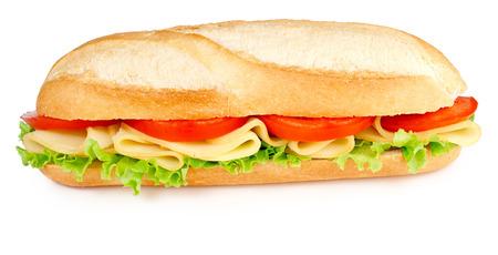 boterham met kaas tomaten en sla op wit wordt geïsoleerd Stockfoto