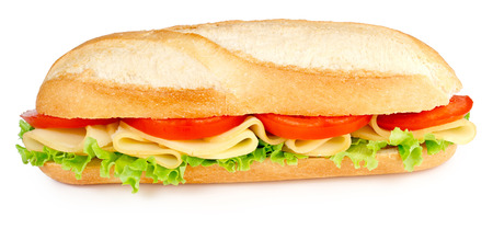 sub sandwich: sandwich with cheese tomatoes and lettuce isolated on white