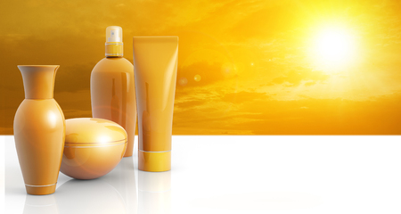 bronze background: set of sun lotions in a sunny sky