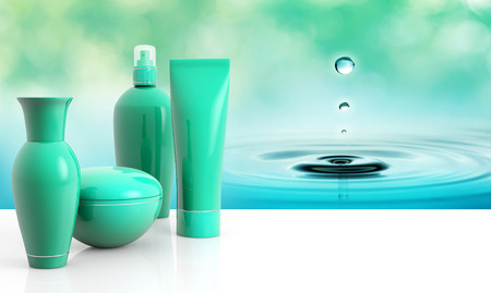 moisten: set of skin creams and water droplet