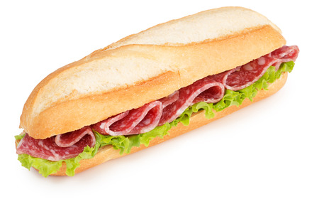 salami and lettuce sub isolated on white