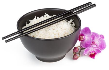 white rice: bowl with basmati rice isolated on white Stock Photo