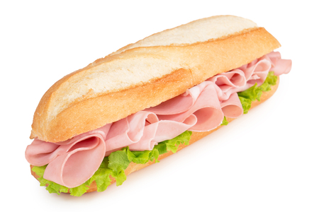 sandwich with italian sliced meat isolated on white Archivio Fotografico