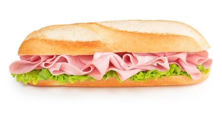 Bologna en sla sandwich geïsoleerd op wit Stockfoto - 50605782
