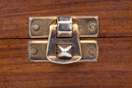 to clasp: close up of the clasp of a wooden chest
