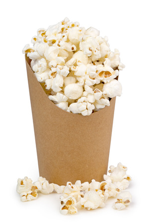 cardbox: bucket full of pop corn isolated on white
