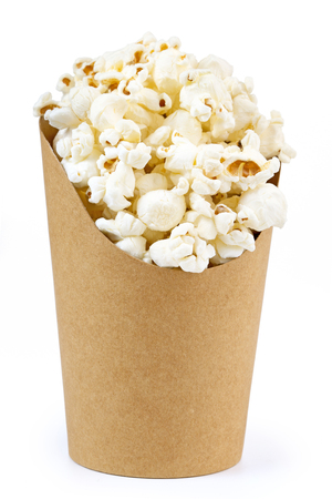 cardbox: cardboard bucket full of popcorn isolated on white Stock Photo